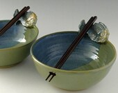 Rice Bowl or Noodle Bowl with Fish Chopstick Rest in Jade Green & Cornflower Blue