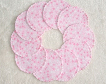 Make-up Remover Pads Pink Stars Washable Reusable Cotton Rounds