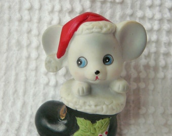 Vintage Christmas Mouse in Santa's Boot Figurine - sweet