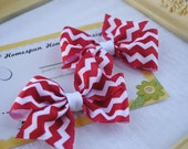 Red and White Chevron Set of Two... Loopy Chevron Hairbow Pair...Set of Hair Clips...Flat Loop Pigtail Bows...ZigZag Bows - HomespunHoneyBee