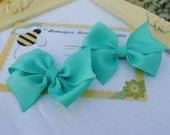 Aqua Blue Set of Two... Loopy Hairbow Pair...Set of Hair Clips...Flat Loop Hair Bows...Pigtail Bows - HomespunHoneyBee