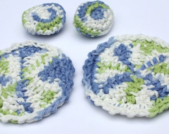 Crochet Cotton Spa Set, Crochet Tawashi Face Cloths and Puffs