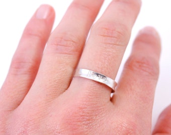 LOVE Inscribed Stacking Ring in Sterling Silver