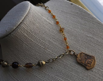 Vintage Gold 1934 Track Medal Necklace on an Assemblage Rosary Wrapped Chain with Acorns