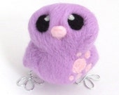 Easter Chick Needlefelted Bird in Lilac and Pale Pink - feltmeupdesigns