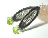 Long Silver Earrings, Green Dangles, Peridot Earrings, Nature Inspired Earrings, Unique Sterling Earrings, Leaf Drops Silver, Peridot Bead