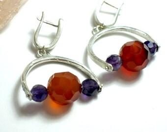 Carnelian Earrings, Carnelian Jewelry, Silver Stone Earrings, Orange Jewelry, Carnelian Amethyst Earrings, Orange Earrings, Stone Jewelry