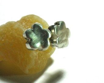 Small Silver Flower Studs-Hollowform earring studs- Sterling Earring Posts