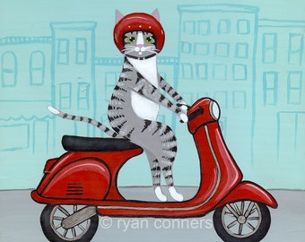 Red Vespa Silver Tabby Cat Folk Art Digital Print 8x8, 10x10