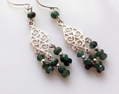 Emerald and Sterling Silver Scroll Earrings May Birthstone Jewelry