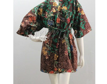 Brown Green Batik Flower Kimono Thai Floral Meditation Wedding Bridesmaid Short Bath Robe S - L (SR21) SALE