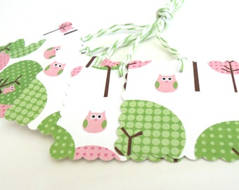 Pretty in Pink Owl Gift Tags - Set of 5 Tags