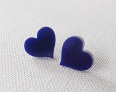 Heart Stud Earrings - Dark Blue Earring Posts - Spring Jewelry - Heart Jewelry - Navy Blue Heart Earrings (E161)