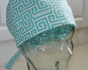 Tie Back Surgical Scrub Hat in Greek Keys Aqua