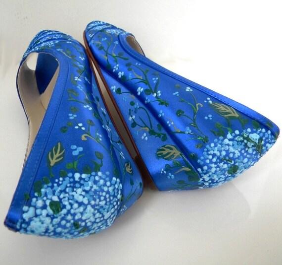 Wedding Shoes Hydrangeas Sapphire Something Blue Low By Norakaren