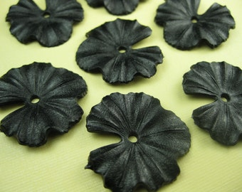 6 Vintage black Lucite Flower Pendant