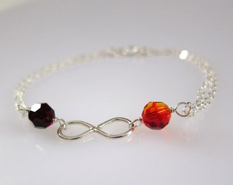 Silver Infinity and Two Birthstones Garnet Opal Charm Bracelet, Sterling Silver made to order, gifts for her, made in USA