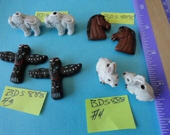 Choose your Beads, Horse,White Rabbit Detailed Ceramic Animal Beads 2 pcs. BDS 888
