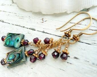 Handcrafted Artisan OOAK Abalone Shell Garnet 14kt Gold Wire Wrapped Chandelier  Boho Gypsy Festival Long Dangle Earrings