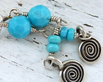 Handcrafted Artisan Nacorazi Turquoise Karen Hill Tribe Spiral Charm Sterling Silver Wire Wrapped Southwestern Boho Cowgirl Earrings