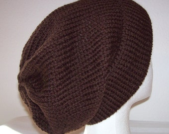 Wool Ski Hat - Slouchy Knit Beanie - Knitted Hipster Toque - Medium Brown