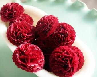 Button Mums Tissue Paper Flowers  1 inch Claret Red  Wedding, Bridal Shower, Baby Shower Decor