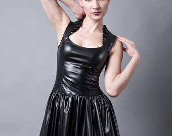 Black Faux Leather or PVC Party Dress-Made to Order