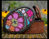 The Bridget Belt -  Leather Belt with Bold and Bright Pink and Orange Buckle