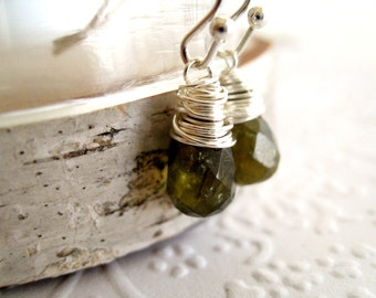 Green garnet earrings January birthstone Woodland Forest Gift for her under 50 Vitrine Grossular Garnet