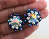 Midnight Blue and Opal Crystal Wrapped Rivoli Earrings