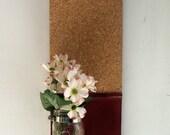 Wood Shelf Cork Board Maison Jar Message  Center Mahogany Wine Color