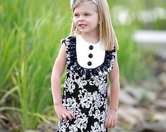 SALE!!! Retro  1960's style  sleeveless Layla dress... with bib and ruffle with lace-children clothing