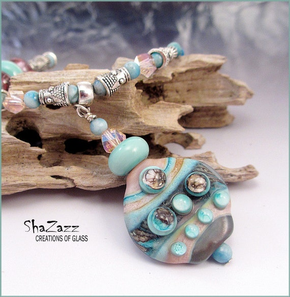 SALE Handmade Lampwork focal necklace with two pair of earrings, Pink and blue, silvered ivory, glass bead