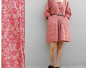 Red Floral Cotton Little Pleats Loose Tunic Dress S-L (D 15)