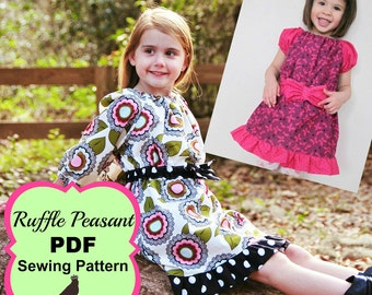 Ruffle Peasant Dress Pattern sizes 0m - 12 girls PDF Instant