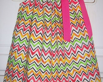 Pillowcase Dress Chevron Dress Colorful Dress Lime Pink Yellow Party Dress Kids Clothes Summer Dresses for Girls Baby Dresses Toddler Dress