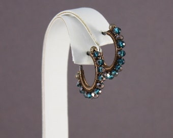 Clip on hoop earrings Capri Blue and Oiled Bronze Gunmetal non pierced