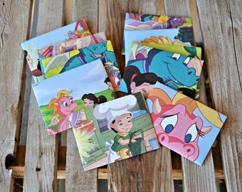 Dragon Tales - recycled book pages into envelopes