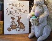 Easter Greetings Wood Sign Painted Vintage Look Bunny Wall Decor Easter Decoration
