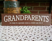 Grandparents So Easy To Operate Painted Wood Sign Family Grandchildren