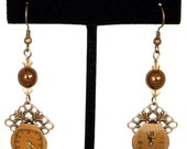 Steampunk Antiqued Copper Ornate Earrings with Vintage Watch Faces and Topaz Swarovski Crystal Beads by Velvet Mechanism