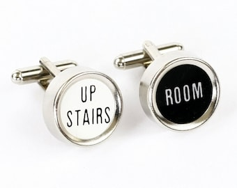 Steampunk RARE Vintage Antique Black and White Cash Register Key Cufflinks - Upstairs Room - by Velvet Mechanism