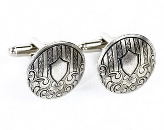 Steampunk Matched Antiqued Silver Aristocratic Military Shield Crest Cufflinks by Velvet Mechanism