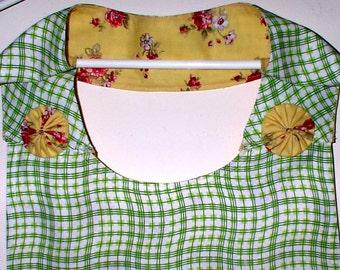 CHURCH LADIES APRON Reversible Four Pockets Yellow Green Rose