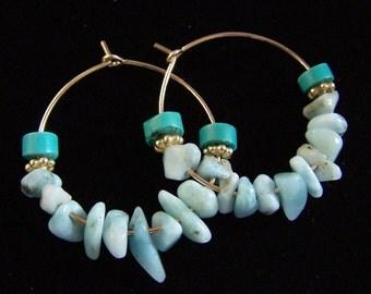 Dominican Larimar Earrings Gold Filled Turquoise Boho Bohemian hoops, natural rustic blue stone pink owl jewelry, vermeil gypsy hoops medium