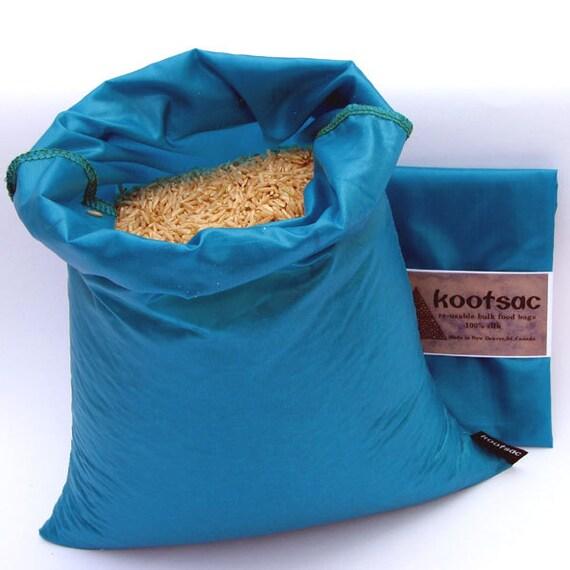 Reusable food bag, reusable produce bag, rice bag, grain bag, ripstop nylon bag , lightweight, washable, turquoise