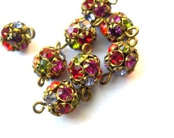 2 Vintage Swarovski connector ball BEADS crystal 8mm assorted colors rhinestones in brass setting