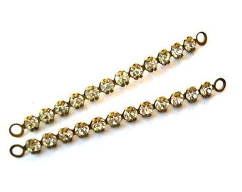4 Vintage Swarovski crystal connector beads, 12 clear crystals in brass metal setting- RARE