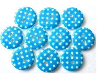 15 Plastic buttons light blue with white dots 15mm