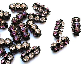 2 Vintage SWAROVSKI  beads 2 colors crystals violet and clear crystals in black metal setting genuine 1100 made in Austria